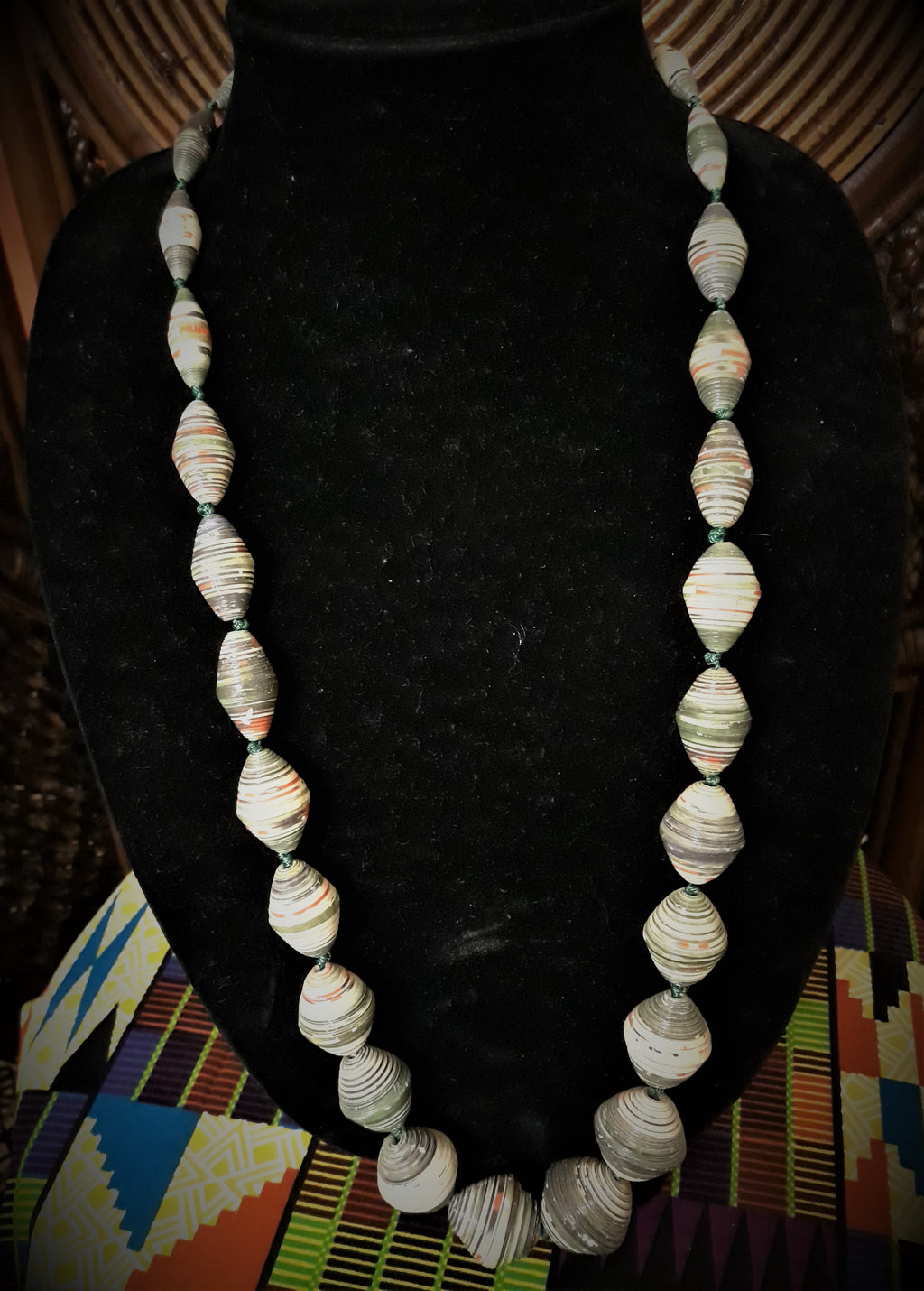 Paper Bead Necklace - Multi-Colored - Long
