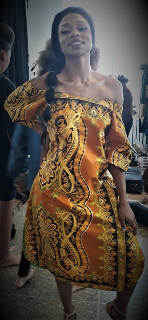 Golden Gate - Off The Shoulder African Dress