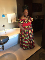 Red and Yellow Off The Shoulder Ruffled African - Maxi Dress