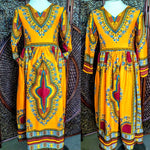 Dashiki Orange - African Fashion - Maxi Dress