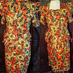 Flowers and Leaves - African Print Top and Skirt Outfit