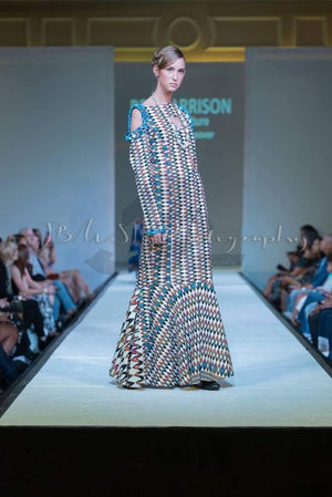 Bleu Cold Shoulder - Long African Dress