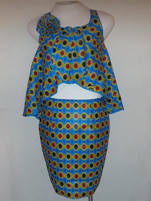 Polka Dots Sky - African Skirt and Top Outfit
