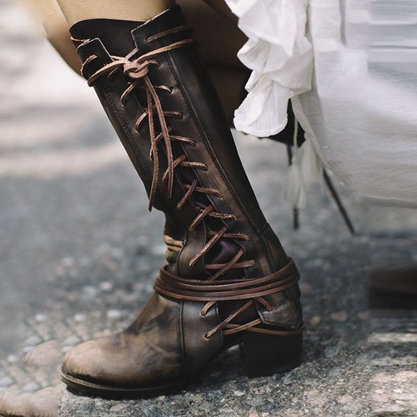 Women Side Lace-up Low Heel Boots Vintage Comfort Boots