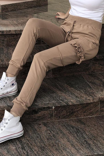 Casual Fashion Pure   Color Pants With Side Pockets Ankle Banded Pants