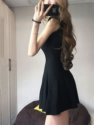 Sexy Halter Plain Cross Strap Skater Dress