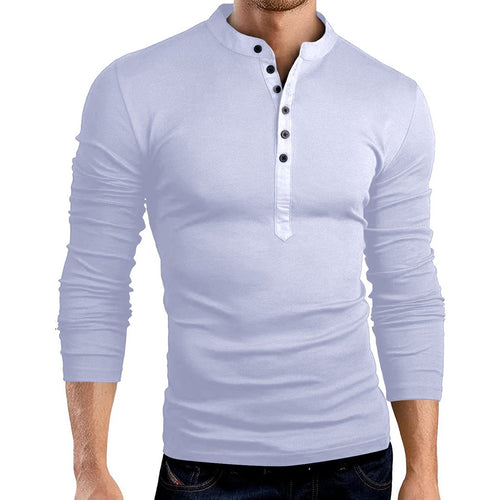 Fashion Round Collar Plain Slim Fit Shirt