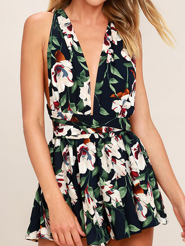 Fashion Sexy Floral Print Rompers