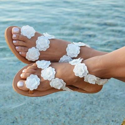 Flat Bottom Flower Decoration Toes Large Size Casual Sandals