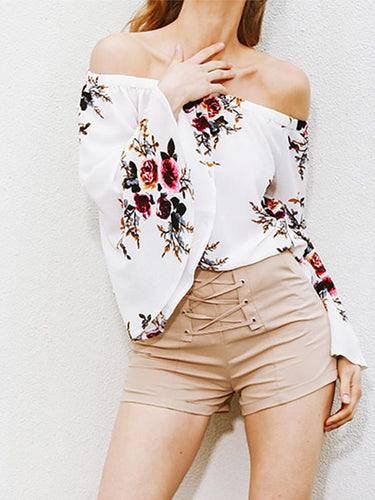 Sexy Off Shoulder Floral Printed Blouse