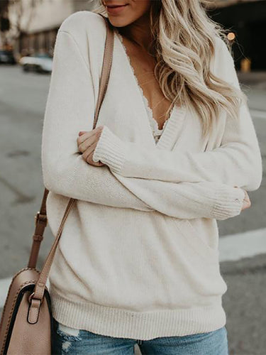 Deep V-Neck Long Sleeve T-Shirt Sweater