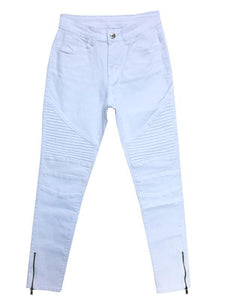 Elastic Slim Fit Zipper Pencil Jeans