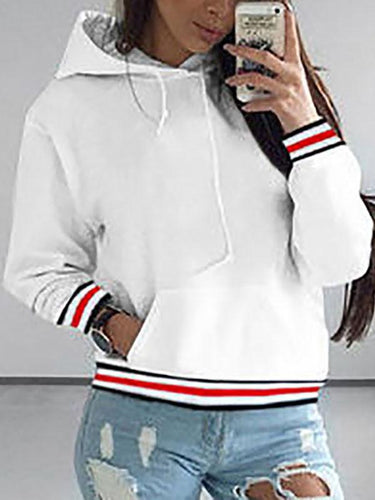 Stripe Stitching Long Sleeve Hooded Sweater