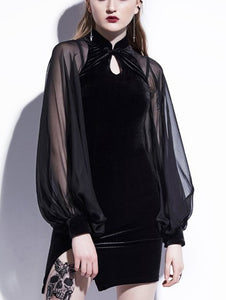 Black Long-sleeved Trumpet Sleeves Women's  Dress