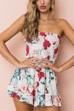 Floral Print Off Shoulder Tied Waist Romper