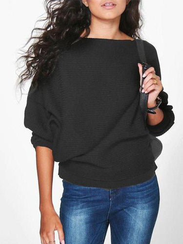 Women Loose Knitted Bat-Wing Sleeve Casual Sweater