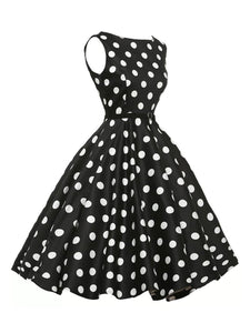 Boat Neck  Belt  Polka Dot  Skater Dress