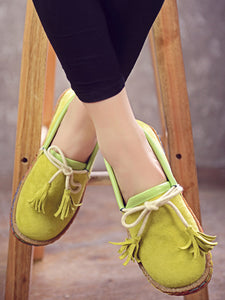 Bowknot Tassel Round-Toe Soft-Sole Loafers