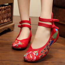 Embroidery  Chunky  Low Heeled  Blend  Criss Cross  Round Toe  Casual Pumps