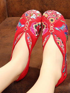 Embroidery  Chunky  Flat  Blend  Round Toe  Casual Flat & Loafers