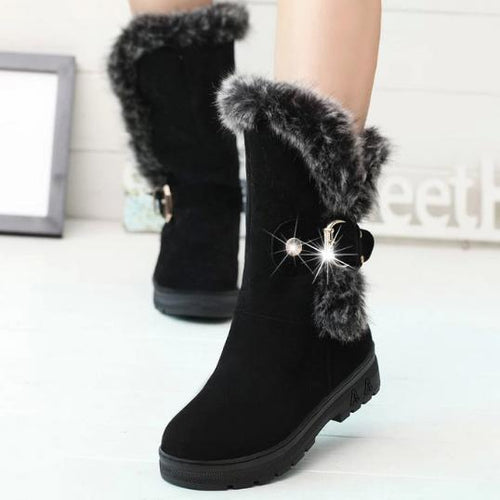Plain  Chunky  Low Heeled  Faux Suede  Round Toe  Casual Boots