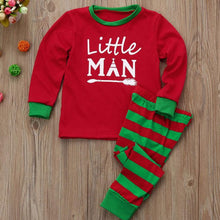 Christmas Letters Pattern Stripes Elastic Waist Family Pajamas