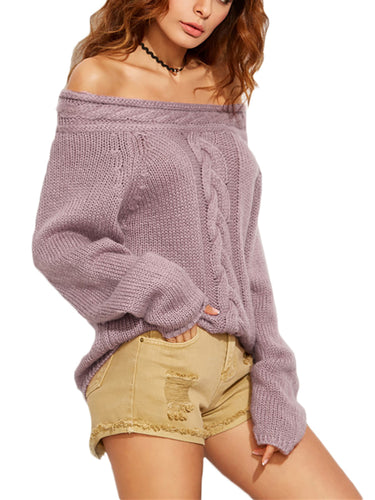 Women Pullover Knit Long Sleeve Off Shoulder Loose Casual Sweaters