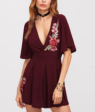Embroidery Deep V Sexy Jumpsuit