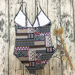 Boho Style Printed One-Piece Swimsuit