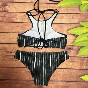 Black Sexy Stripe Lace-Up Swimwear