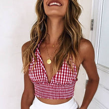 Halter Plaid Wrapped Bust Vest Swimwear
