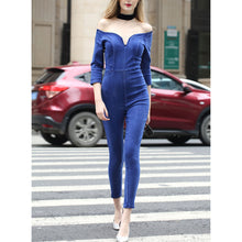 Off-Shoulder Sexy V Collar Denim Jumpsuit