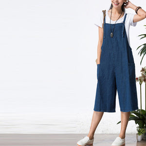 Loose Denim Sleeveless Strap Jumpsuit With Pockets