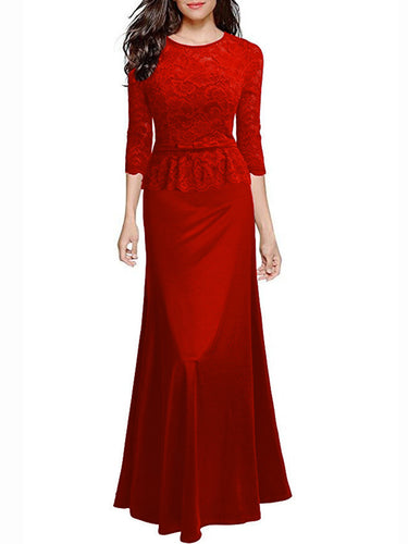 Round Neck Patchwork See-Through Plain Evening Dress