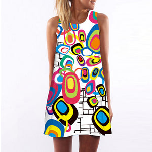 3D Vintage Print Irregular Pattern Mini Dress