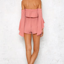 Solid Sexy Strapless Collar Speaker Sleeve Short Jumpsuit