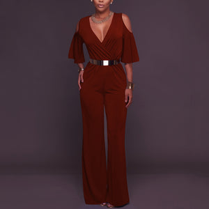 Sexy V Collar Off Shoulder Jumpsuit With Belt