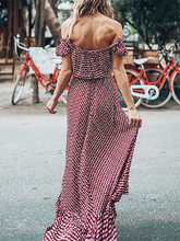 Off-The-Shoulder Bohemian Printed Beach Dress