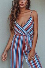 Sexy Casual V Neck Stripe Jumpsuit