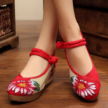 Embroidery Floral  Flat  Ankle Strap  Round Toe  Casual Flat & Loafers