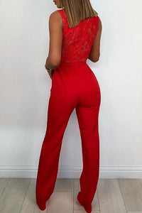 Red Long Sleeves Wide Leg Jumpsuits