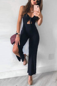 Black Sleeveless Solid Color Jumpsuit