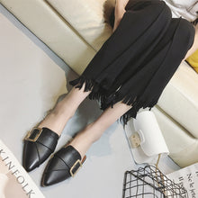 Fashion Pure Color Pointed Mueller Shoes