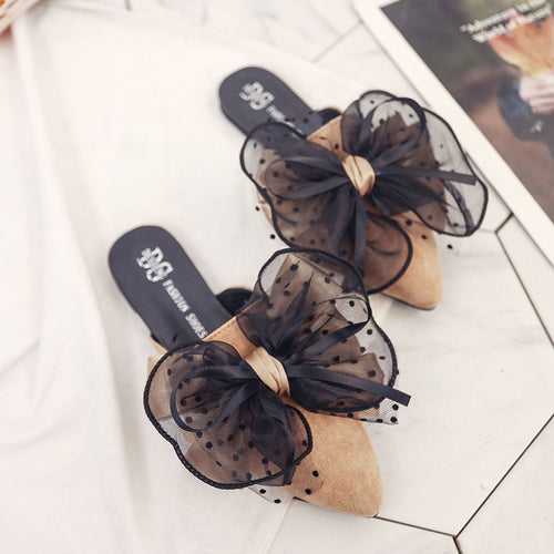 Fashion Pure Color Pointed Mueller Shoes With Bow-Knot
