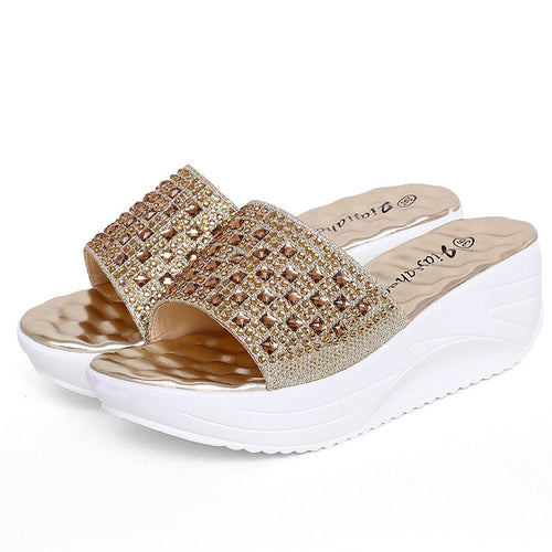 Solid Color Rhinestone Increase Platform Sandals Shoes
