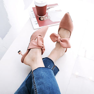 Casual Pointed Slim Heel Mueller Shoes With Bow-Knot