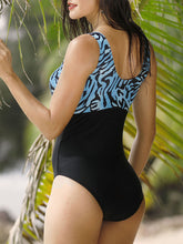 Plus Size Printed Patchwork Elastic One Piece Swimsuit Swimwear For Women