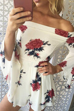 Off Shoulder  Floral Printed  Bell Sleeve  Half Sleeve  Playsuits