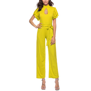 High Collar Hollow Double Ruffled Short Sleeve Back Zipper Straight Wide Leg Jumpsuit