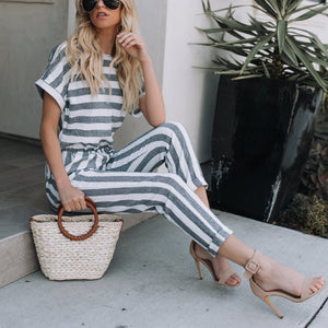 Fashion Casual Stripe Short Sleeves Jumpsuit